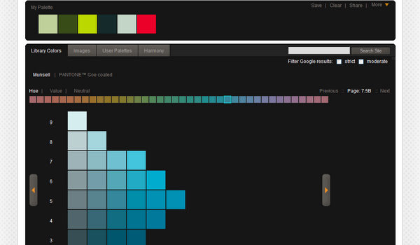 Colormunki has a tool that lets generate color palettes either from the  Musell color system or form PANTONE Goe coated. The site also includes a  list of ...